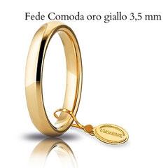 Fedi Nuziali Unoaerre comoda oro giallo 3,5 mm
