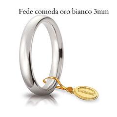 Fede Unoaerre comoda oro bianco 3 mm
