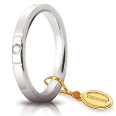 Fedi Nuziali Unoaerre Cerchi di Luce 2,5 mm Oro Bianco con diamante  Referenza: 25 AFC 2/100