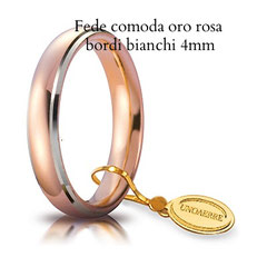 Fedi Nuziali  unoaerre comoda oro rosa bicolore bordi bianchi 4 mm