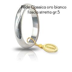 Fede Unoaerre classica oro bianco grammi 5 fascia stretta mm 3,5