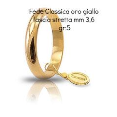 Fede Unoaerre Classica oro giallo fascia stretta 3,6  grammi 5