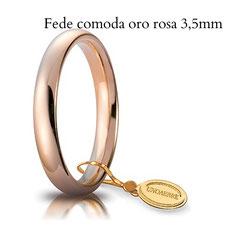 Fedi Nuziali  unoaerre comoda oro rosa 3,5 mm