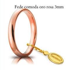 Fede comoda unoaerre oro rosa 3 mm
