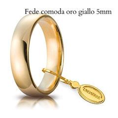 Fedi Nuziali  Unoaerre Comoda oro giallo 5 mm