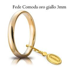 Fede Nuziale Unoaerre Comoda in oro giallo 3 mm