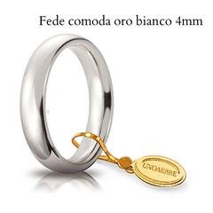 Fede Unoaerre comoda oro bianco 4 mm