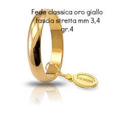 Fede Unoaerre Classica oro giallo fascia stretta 4 grammi