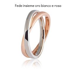 Fedi Nuziali  Unoaerre Insieme Oro Bianco e Rosa collezione 9.0