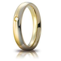 Fedi Nuziali Unoaerre Cerchi di Luce Eclissi 4 mm con diamante. Referenza: 70 AFC 283/001