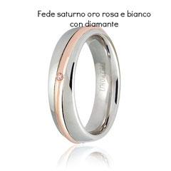Fede Unoaerre modello Saturno Oro rosa e bianco con diamante Collezione 9.0 referenza 050AFC053-0010