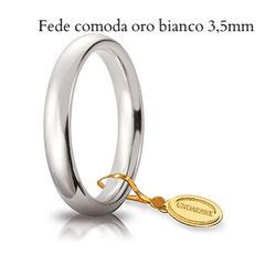 Fedi Nuziali  comoda oro bianco 3,5 mm