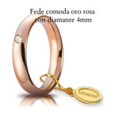 Fede unoaerre comoda oro rosa con diamante 4 mm