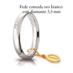 Fede Nuziale Unoaerre comoda oro bianco  con diamante 3,5 mm