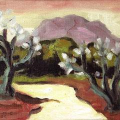 """Merci à Lily, une de mes anciennes patiente qui a appris à peindre de la main gauche, et m'a offert """"le chemin"""" car il y a toujours des amandiers en fleurs quel que soit le chemin"""