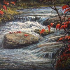 Ruisseau d'automne • Huile sur toile • Dimension : 9 po x 7  po - DISPONIBLE