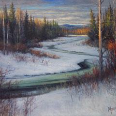 Peinture d'hiver  - 20 po X 16 po -acrylique sur toile -  DISPONIBLE