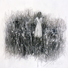 Im Chaos wachsen Blumen /   Leinwand, Acryl auf Leinwand, Bleistift /   80 cm x 80 cm x 2 cm