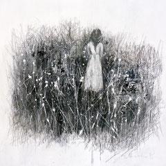 Im Chaos wachsen Blumen /   Leinwand, Acryl auf Leinwand, Bleistift /   80 cm x 80 cm x 2 cm                    620,- €