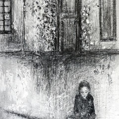 Geschichtenleserin                Leinwand, Acryl, Bleistift                       60 cm x 50 cm x 4 cm                                          530,-Euro