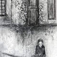 Geschichtenleserin                Leinwand, Acryl, Bleistift                       60 cm x 50 cm x 4 cm