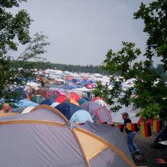 Der wieder einmal rappelvolle Campingplatz B2