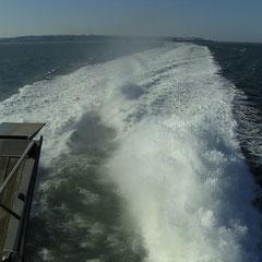 Dank unserem tollen Speed Ferries Katamaran pflügen wir durchs Wasser.