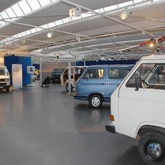 Blick auf die T3-Sonderausstellungsfläche im Herzen des VW-Museums.