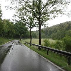 Angekommen im Ahrtal; es regnet immerhin nur noch ganz leicht!