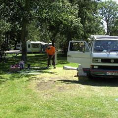 Endlich angekommen auf dem Star Camping in Chertsey.