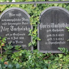Grabstein Doris Tucholsky, ermordet in Theresienstadt.Jüdischer Friedhof Weißensee. Foto: Helga Karl
