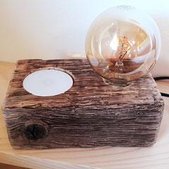 Nachttischlampe Altholz mit Wireless Handyaufladung
