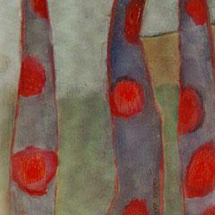 Arbres rouges - Huile sur papier - 40x33 cm (VEG04)