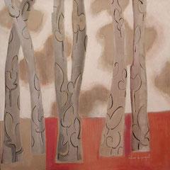 Bouquet d'arbres - Huile sur papier - 50x48 cm - 2002 (VEG05) VENDU