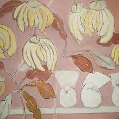 Haricots et pigeons - Acrylique sur toile - 100x100 cm (VEG12) VENDU