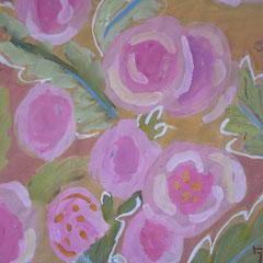 Roses trémières - Acrylique sur toile - 50x50 cm (VEG11)