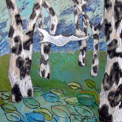 Drap dans le vent - Pastel - 51x51 cm - 2002 (VEG01)