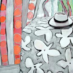 Le chapeau - Acrylique sur papier - 100x100 cm (VEG07)