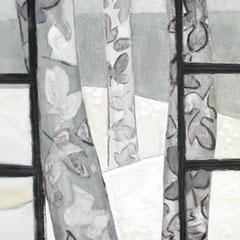 Platanes sous la neige - Acrylique sur papier - 120x80 cm  (VEG03) VENDU