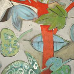 L'arbre rouge - Acrylique - 100x80 cm (dyptique) (VEG18)