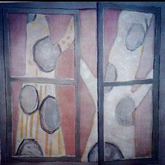 Fenêtre sur platanes - Huile sur papier - 100x100 cm - 2001 (VEG02)