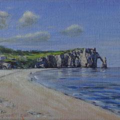 Etretat, strand, olie/doek, 24x18cm