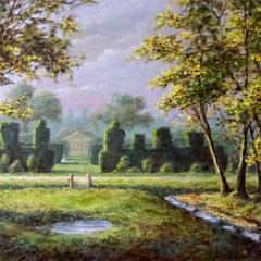 Taxustuin, herfst, o/a/p, 87x61cm