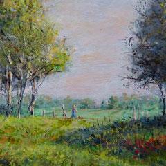 Romantisch landschap met berken, detail