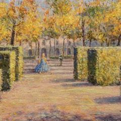 In de Tuilerieën (de kunstenaar en zijn model), o/a/p, 21,2x11,8cm