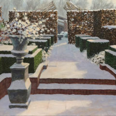 Vaas in tuin, winter, o/a/p, 70x57cm