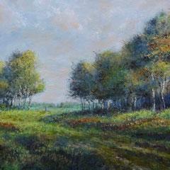 º Romantisch landschap met berken, o/a/p, 58x28,5cm