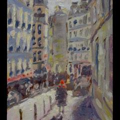Parijs, Montmartre, Rue Grappe, o/p, 7,4x12,3cm