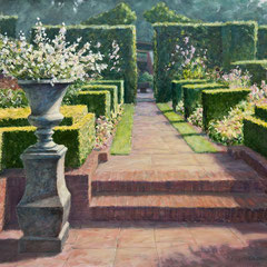 º Vaas in tuin, zomer, o/a/p, 70x57cm