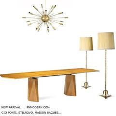 ADVERTISEMENT 2020 - New arrival pnmodern.com - Gio ponti diamond dining table ,1952 / 53 - Maison Bagues, pair of golden bronze floor lamp, 1950s - Stilnovo brass sputnik chandelier.